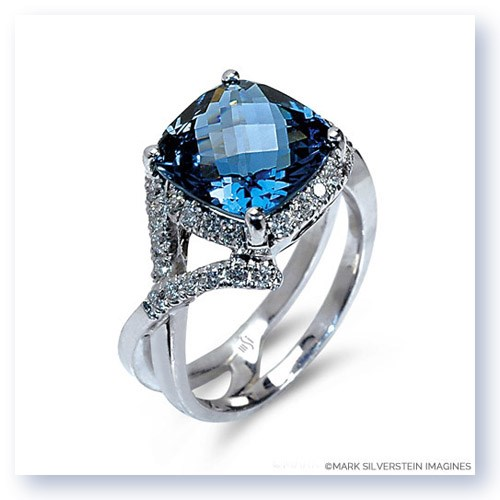 Mark Silverstein Imagines 18K White Gold Blue Topaz Crossover Diamond Fashion Ring