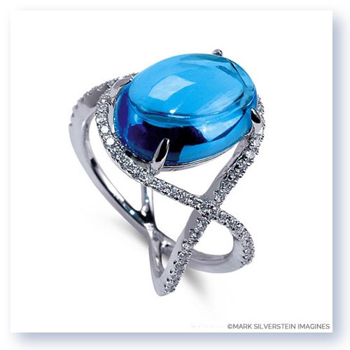 Mark Silverstein Imagines 18K White Gold Blue Topaz and Diamond Crossover Cocktail Ring