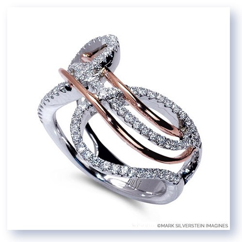 Mark Silverstein Imagines 18K White and Rose Gold Free Flowing Diamond Fashion Ring