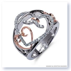 Mark Silverstein Imagines 18K White and Rose Gold Interlocking Hearts Diamond Fashion Ring