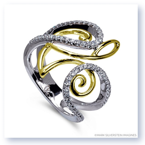 Mark Silverstein Imagines 18K White and Yellow Gold Curve and Loop Diamond Fashion Ring
