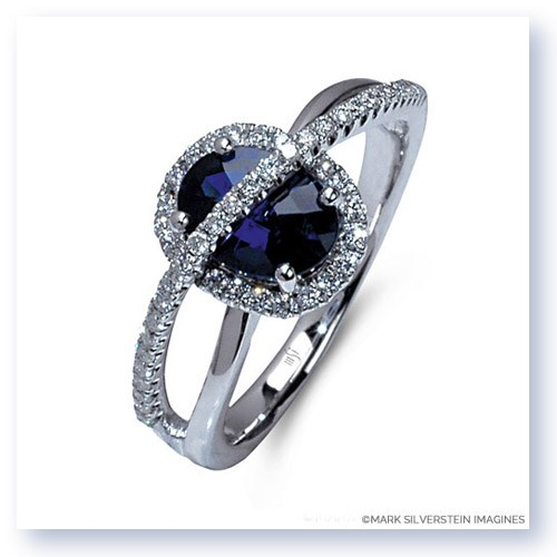 Mark Silverstein Imagines 18K White Gold Sapphire and Diamond Halo Right Hand Ring