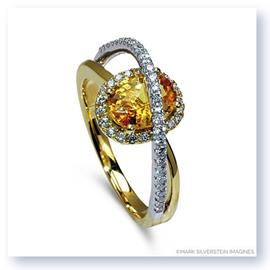 Mark Silverstein Imagines 18K White and Yellow Gold Yellow Sapphire and Diamond Halo Right Hand Ring