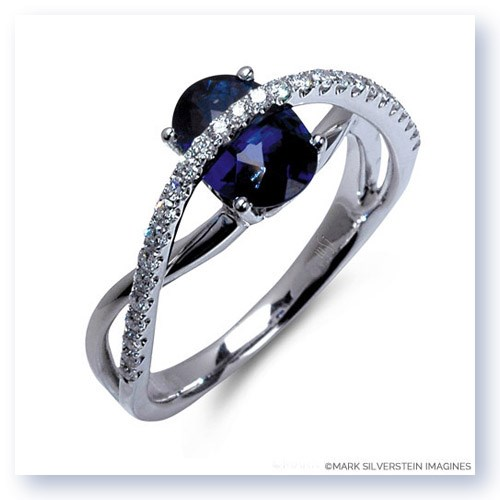 Mark Silverstein Imagines 18K White Gold Contrasting Arch Blue Sapphire and Diamond Right Hand Ring