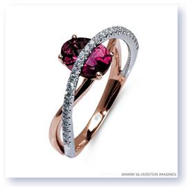 Mark Silverstein Imagines 18K White and Rose Gold Contrasting Arch Pink Tourmaline and Diamond Right Hand Ring