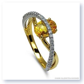 Mark Silverstein Imagines 18K White and Yellow Gold Contrasting Arch Yellow Sapphire and Diamond Right Hand Ring