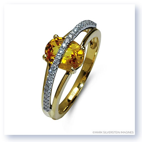 Mark Silverstein Imagines 18K White and Yellow Gold Yellow Sapphire and Diamond Split Shank Right-Hand Ring