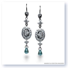 Mark Silverstein Imagines Hand Engraved 18K White Gold Aquamarine and Diamond Drop Earrings