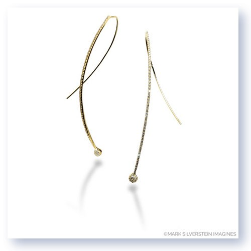 Mark Silverstein Imagines Long Wire Thin 18K Yellow Gold Diamond Earrings