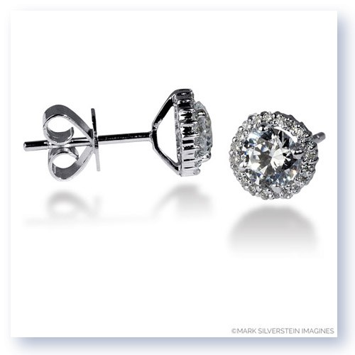Mark Silverstein Imagines 18K White Gold 5mm Diamond Halo Earrings
