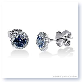 Mark Silverstein Imagines 18K White Gold 5mm Sapphire and Diamond Halo Stud Earrings