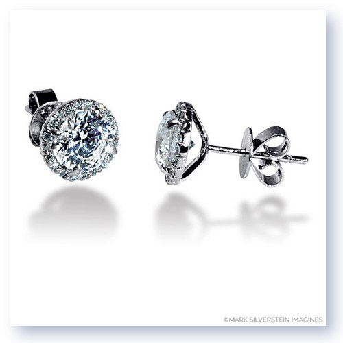 Mark Silverstein Imagines 18K White Gold 7mm Diamond Halo Stud Earrings