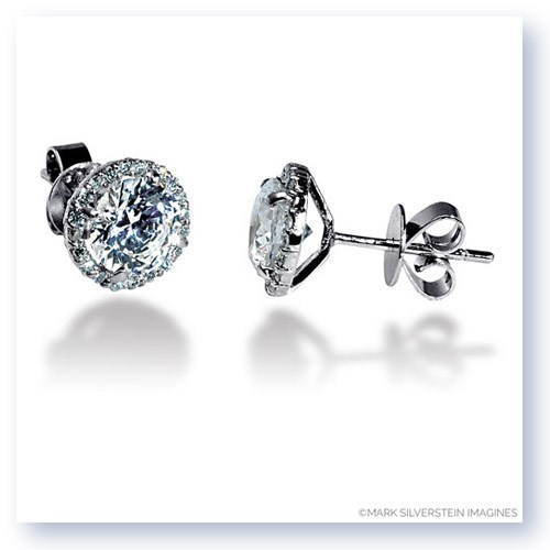 Mark Silverstein Imagines 18K White Gold 8mm Diamond Halo Stud Earrings