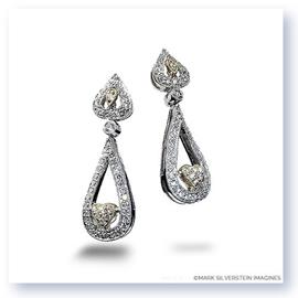 Mark Silverstein Imagines 18K White and Yellow Gold Heart Shape Diamond Dangle Earrings