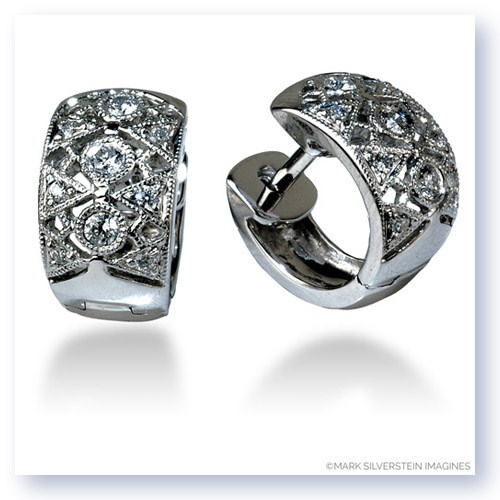 Mark Silverstein Imagines 18K White Gold Short Art Deco Inspired Diamond Huggie Earrings