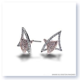 Mark Silverstein Imagines 18K White and Rose Gold Diamond Double Triangle Earrings