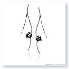 Mark Silverstein Imagines 18K White Gold Clef Diamond and Black Fresh Water Pearl Earrings