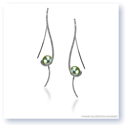 Mark Silverstein Imagines 18K White Gold Clef Diamond and Pistachio Colored Fresh Water Pearl Earrings