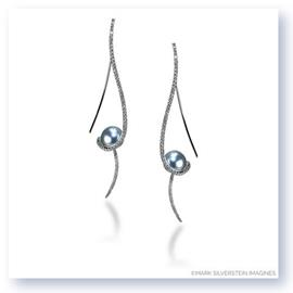 Mark Silverstein Imagines 18K White Gold Clef Diamond and Dyed South Sea Pearl Earrings