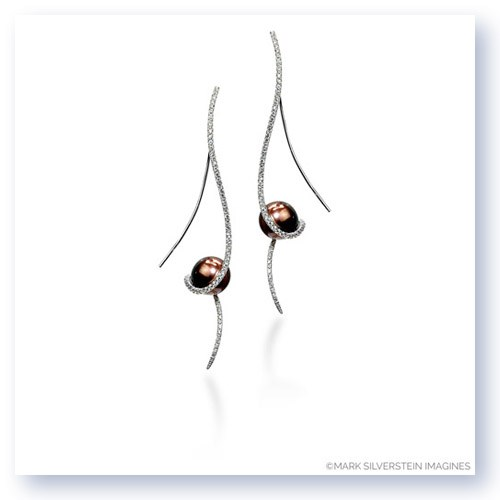 Mark Silverstein Imagines 18K Yellow Gold Clef Diamond and Chocolate Colored South Sea Pearl Earrings