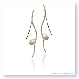 Mark Silverstein Imagines 18K Yellow Gold Clef Diamond and South Sea Pearl Earrings