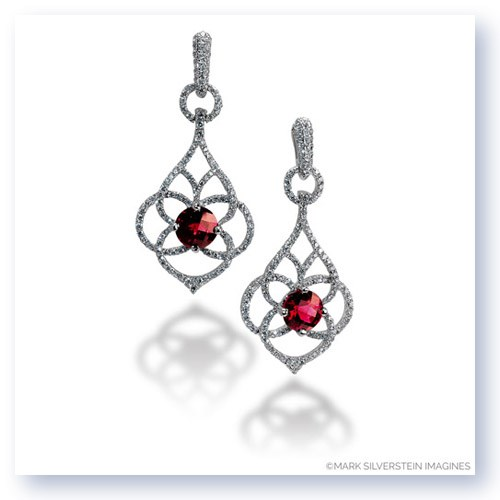Mark Silverstein Imagines 18K White Gold Diamond and Rubellite Tourmaline Dangle Earrings