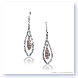 Mark Silverstein Imagines 18K White and Rose Gold Suspended Teardrop Diamond  Dangle Earrings