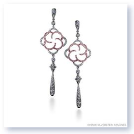 Mark Silverstein Imagines 18K White and Rose Gold Flower Inspired Dangle Diamond Earrings
