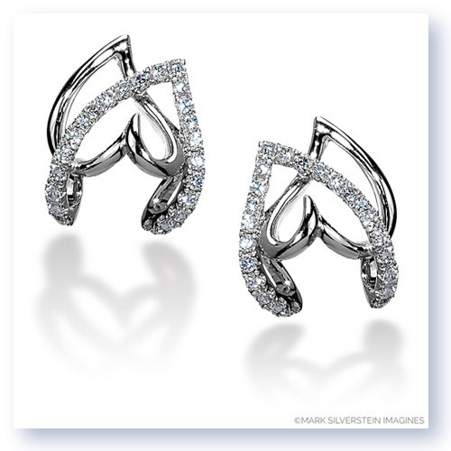 Mark Silverstein Imagines 18K White Gold Double Heart Diamond Earrings