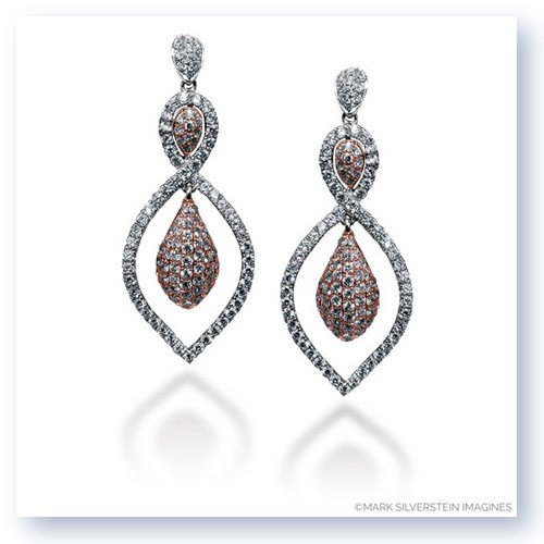 Mark Silverstein Imagines 18K White and Rose Gold Open Tear Drop Shape Diamond Dangle Earrings