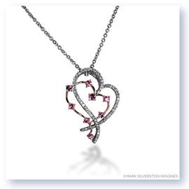 Mark Silverstein Imagines 18K White and Rose Gold Diamond and Sapphire Double Open Heart Pendant