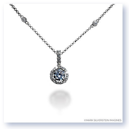 Mark Silverstein Imagines 18K White Gold 4mm Diamond Halo Pendant