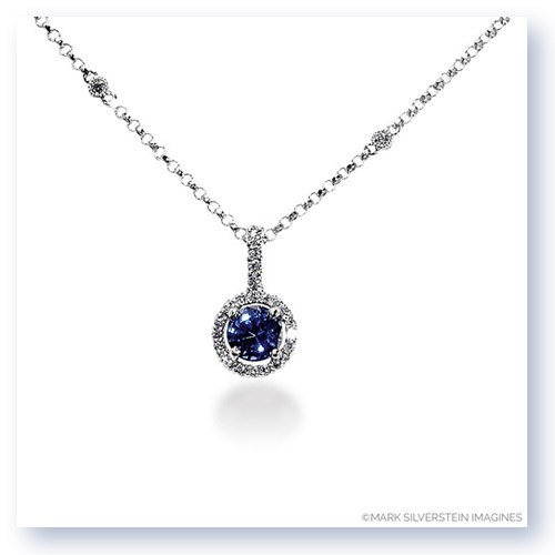 Mark Silverstein Imagines 18K White Gold5mm Sapphire and Diamond Halo Pendant