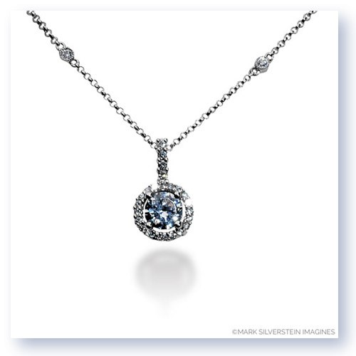 Mark Silverstein Imagines 18K White Gold 6mm Diamond Halo Pendant