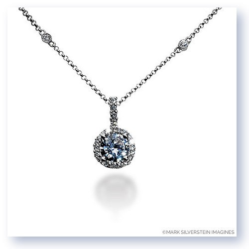 Mark Silverstein Imagines 18K White Gold 8mm Diamond Halo Pendant