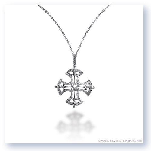 Mark Silverstein Imagines 18K White Gold Celtic Cross Inspired Diamond Pendant