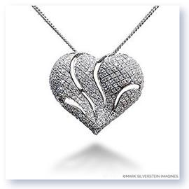 Mark Silverstein Imagines 18K White Gold Ripped Heart Shaped Diamond Pendant