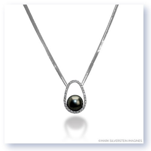Mark Silverstein Imagines 18K White Gold Diamond and Black South Sea Pearl Pendant