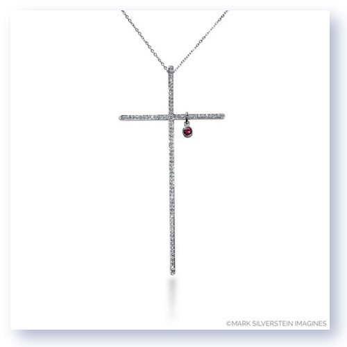 "Mark Silverstein Imagines 18K White Gold ""Heart of Christ"" Diamond and Ruby Cross Pendant"