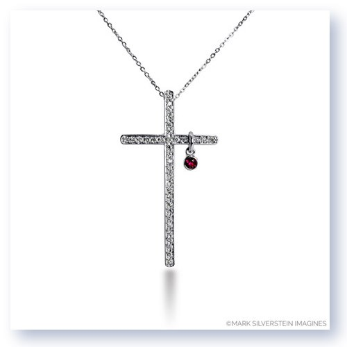 "Mark Silverstein Imagines 18K White Gold ""Heart of Christ"" Diamond and Ruby Cross Short Pendant"