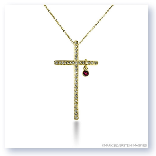 "Mark Silverstein Imagines 18K Yellow Gold ""Heart of Christ"" Diamond and Ruby Cross Short Pendant"
