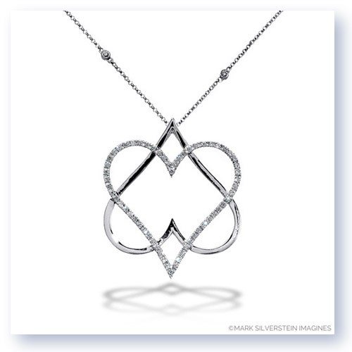 "Mark Silverstein Imagines 18K White Gold ""Hearts of David"" Diamond Pendant"