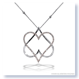 "Mark Silverstein Imagines 18K White and Rose Gold ""Hearts of David"" Diamond Pendant"