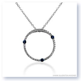 Mark Silverstein Imagines 18K White Gold Diamond and Blue Sapphire Circle Pendant