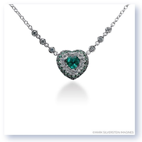 Mark Silverstein Imagines 18k White Gold Emerald Green Tsavorite and White Diamond Heart Necklace