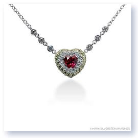 Mark Silverstein Imagines 18k White Gold Ruby with Yellow Sapphire and White Diamond Heart Necklace