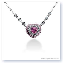 Mark Silverstein Imagines 18k White Gold Pink Sapphire and White Diamond Heart Necklace