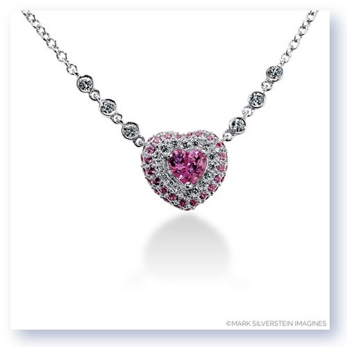 77f1c847336 Mark Silverstein Imagines 18k White Gold Pink Sapphire and White Diamond  Heart Necklace