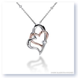 Mark Silverstein Imagines 18K White and Rose Gold Double Intersecting Hearts Diamond Pendant