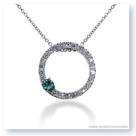 Mark Silverstein Imagines 18k White Gold Emerald and Diamond Circle Pendant